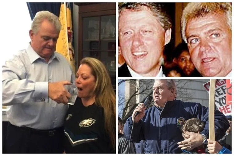 Left: U.S. Rep. Bob Brady feeds his wife water from the cup he swiped from Pope Francis. Top right: Brady and President Clinton hang. Bottom right:  Brady smashes a boy's face — er, covers his ears — as the congressman uses foul language to describe Republicans trying to repeal Obamacare.