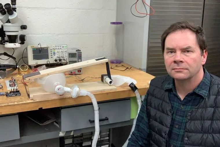 Tod Corlett, a Thomas Jefferson University professor of industrial design, made this prototype of a ventilator in four hours, and already has taken it apart to build a better one. He and colleagues are exploring several approaches that could eventually be tested on people.
