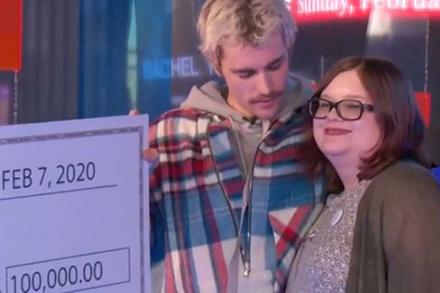 ic: Bieber presenting cheque to Julie Coker, Source: Stockton University