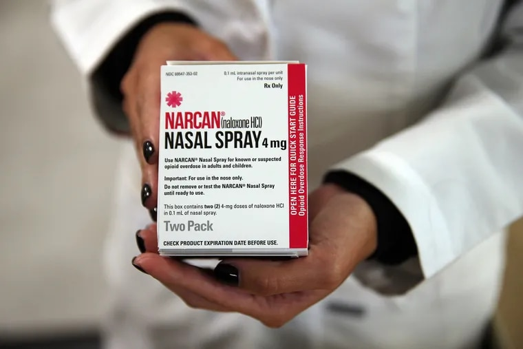 Naloxone nasal spray, sold under the brand name Narcan, is shown in 2016. (Terrence Antonio James/Chicago Tribune/TNS)