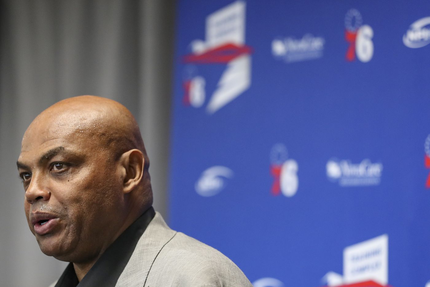 NBA Hall of Famer and former Sixers player Charles Barkley speaks at the 76ers Training Complex in Camden in September.