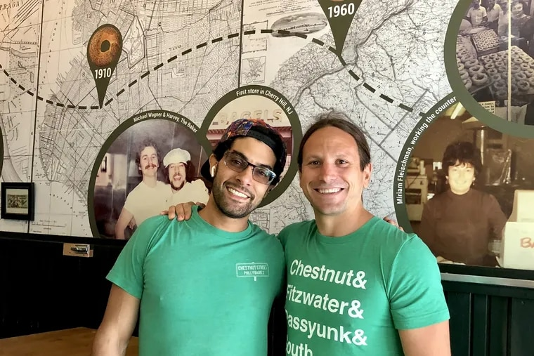 Business partners Jonathan Yamini (left) and Aaron Wagner at Chestnut Street Philly Bagels.