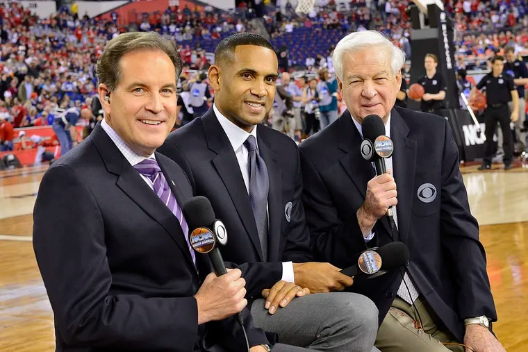 CBS and Turner Sports' lead NCAA Tournament broadcast crew: Jim Nantz (left), Grant Hill and Bill Raftery.