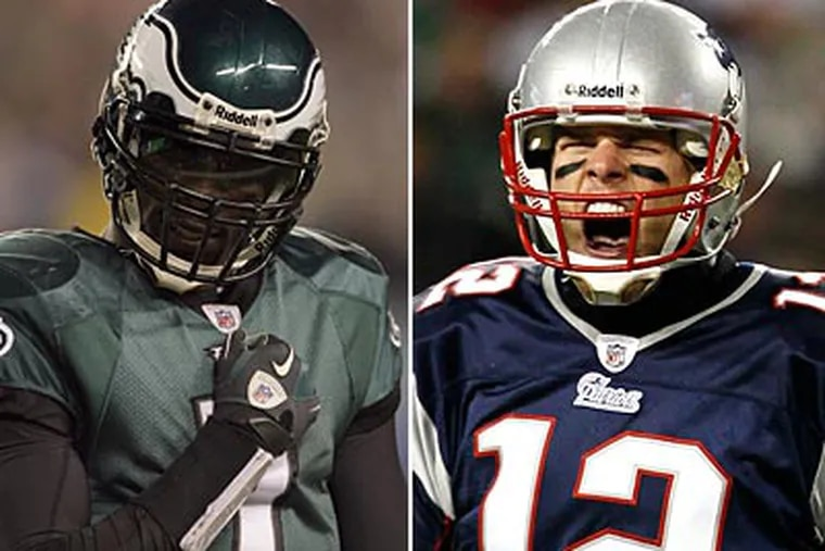 Michael Vick and Patriots quarterback Tom Brady are widely considered to be the top two choices for MVP. (Staff and AP file photos)