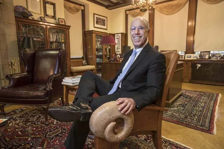 Stephen Spinelli, former president of Philadelphia University and currently chancellor of Jefferson University, which now incorporates Philadelphia U. He's seated in his office at the East Falls campus, in a chair adorned with a ram's horn — symbolic of the school mascot, which Jefferson has adopted as well.