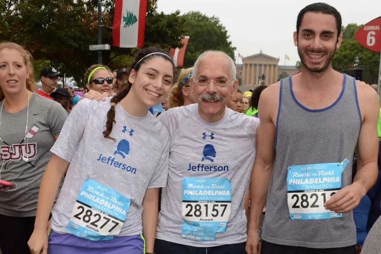 Howard Weitz (center) with daughter Hannah and son Ben atthe 2016 Rock 'n' Roll Philadelphia Half Marathon on Sept. 18. Weitz completed the run in 2 hours, 48 minutes, 6 seconds.