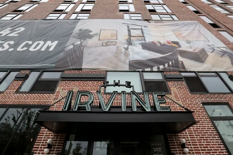 Thge Irvine building in West Philadelphia was originally home to Apple Storage, a fireproof industrial storage warehouse. It's been redeveloped into apartments.
