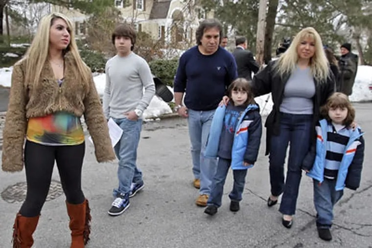 Harriton High School sophomore Blake Robbins (second from left) along with older sister Paige (left) father Michael, mother Holly and younger siblings Chase and Austin. (Steven M. Falk / Staff photographer)