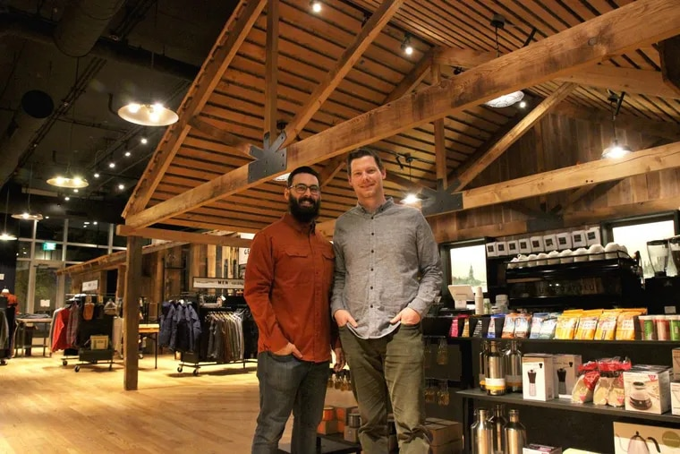 United by Blue founders Mike Cangi (left) and Brian Linton at their new retail store at Second and Race Streets in Old City.