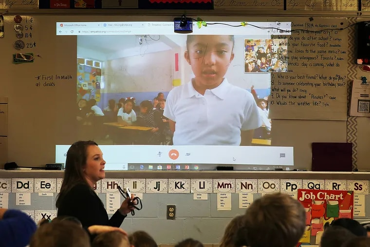 Second-grade students at Bells Elementary School and teacher Kayla Ewing are talking to the IBIME School students in Mexico City using an Empatico communication program.
