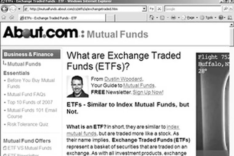 This informational page on ETF basics provides notes on some advantages and disadvantages of exchange-traded funds.