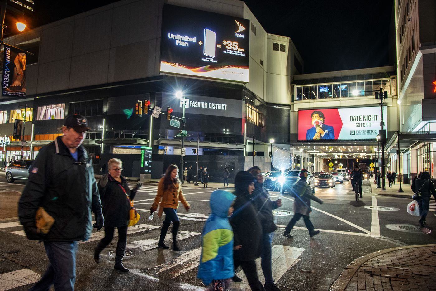 With the opening of the Fashion District, East Market is now a continuous lineup of digital billboards.