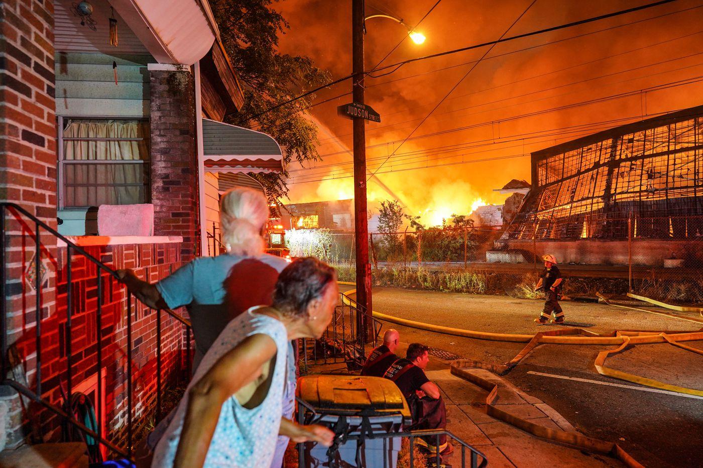 1 firefighter injured battling six-alarm warehouse fire in North Philadelphia