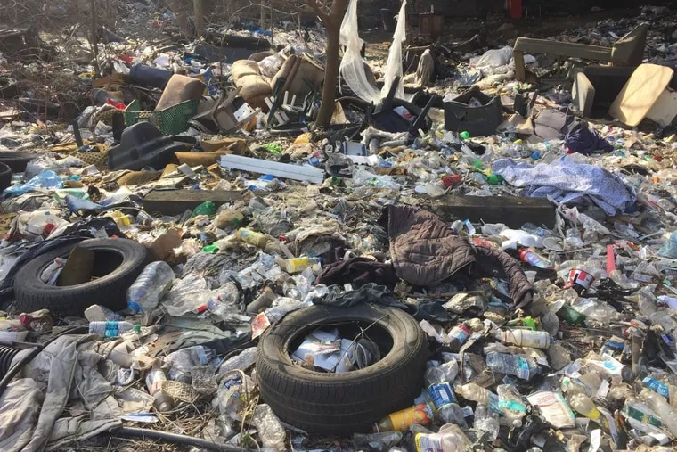 One of many piles of trash and needles in the gulch that runs along Gurney Street in Kensington and Fairhill that is home to 75 to 125 heroin addicts.