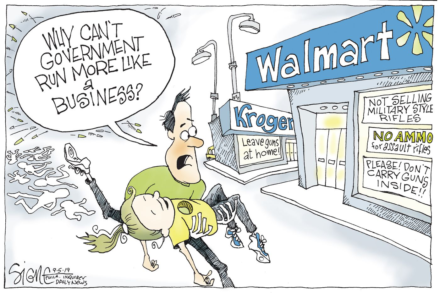 Political Cartoon: Business deals with gun control