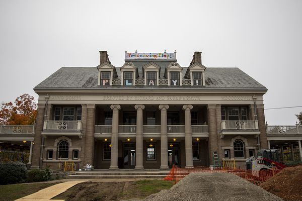 Alpenhorn sounds at Smith Playground to mark Swiss billionaire's $1M gift for playhouse restoration