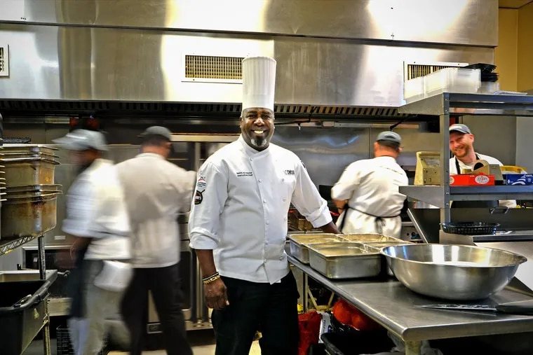 Keith Taylor of Zachary's BBQ in his catering kitchen in Philadelphia's Bridesburg section.