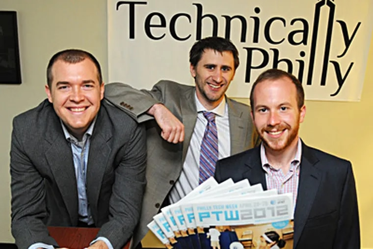 Co-founders of Technically Philly, the small Philly company that is coordinating Philly Tech Week (PTW), are (from left) Christopher Wink, Sean Blanda and Brian James Kirk, who is holding copies of PTW 2012, the guide magazine for events throughout the week of PTW.  ( Clem Murray / Staff Photographer )