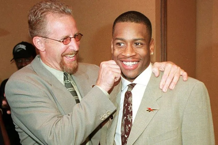 Then-Sixers president Pat Croce (left) and Allen Iverson were all smiles after the 1996 NBA draft.
