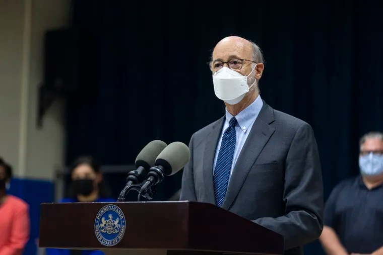 Gov. Wolf speaks about the mask mandate and pandemic schooling at a press conference at Hancock Elementary in Norristown on Wednesday.