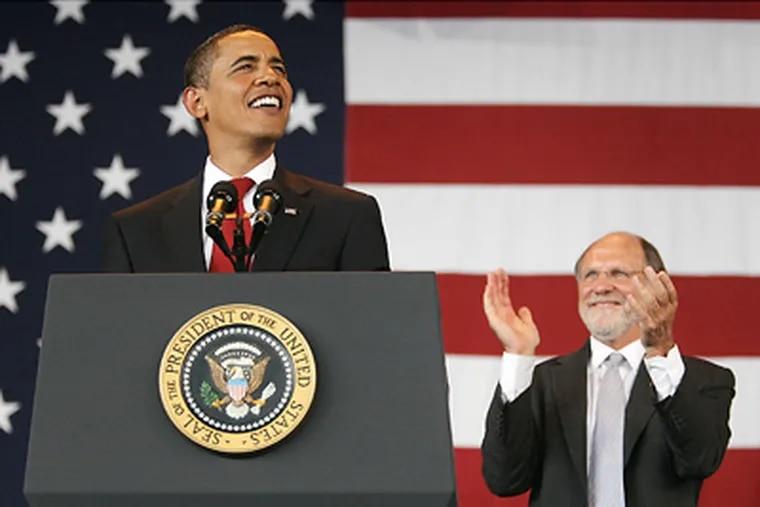 President Barack Obama speaks during a rally for New Jersey Gov. Jon Corzine in Holmdel, N.J. yesterday. (AP Photo/Elizabeth Lara)