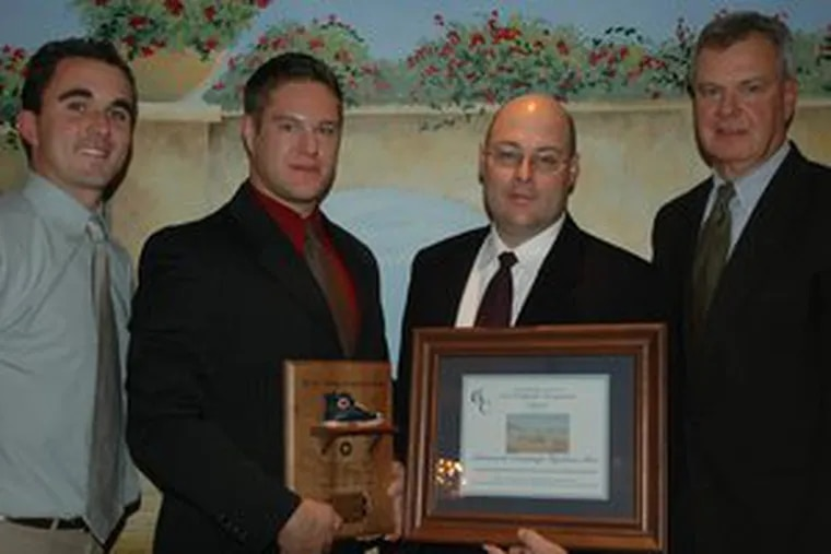 Advanced Drainage Systems Inc. of Logan Twnship was recently recognized at a dinner hosted by the Gloucester County Special Services Education Foundation for donating $100,000 toward the Gloucester County Miracle League Field. From left are Ryan Dougherty, Miracle League coordinator; Nathan Jovanelly, ADS regional engineer; Mike Muse, ADS plant manager; and Federick Keating, GCSS superintendent.