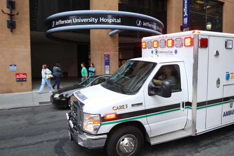 The entrance of Thomas Jefferson University Hospital at 10th and Chestnut Streets, where employer-sponsored health plans pay 636 percent more than Medicare for outpatient care, or non-urgent services that doesn't require being admitted to the hospital, according to the RAND report. (Michael Bryant / Staff Photographer)