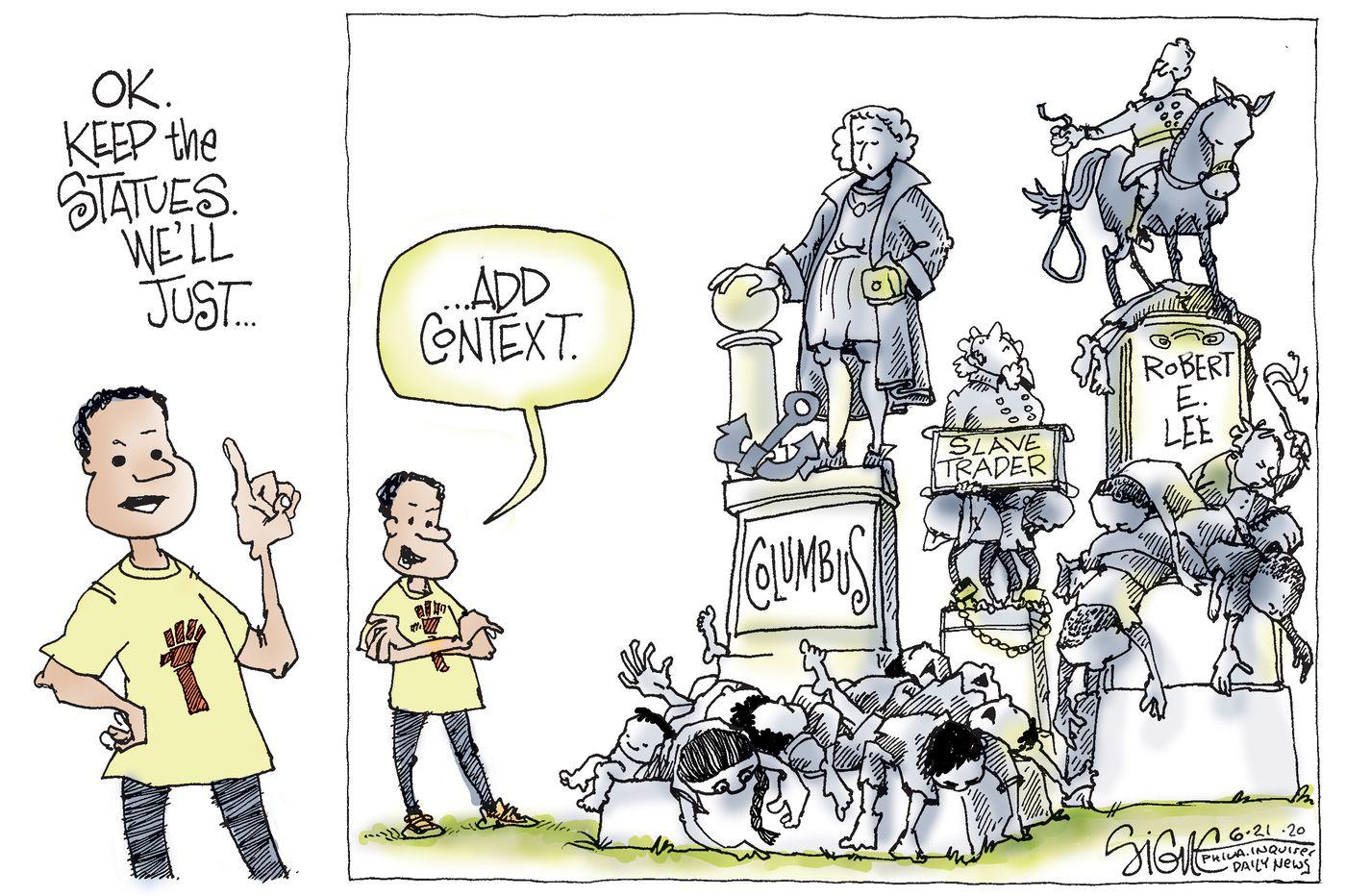Political Cartoon: Statues in context