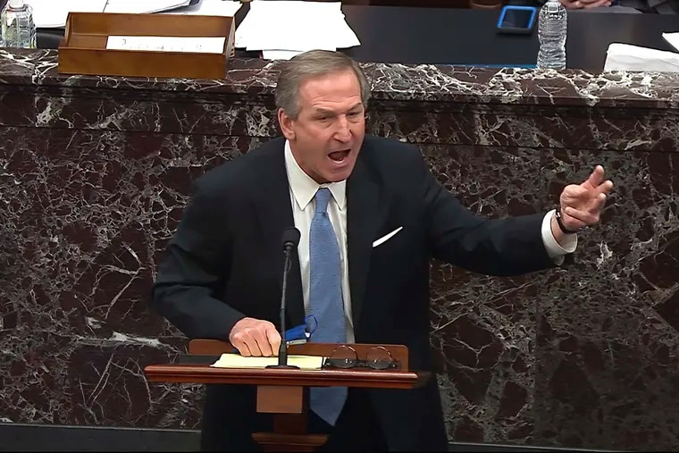Philadelphia attorney Michael van der Veen, a lawyer for former President Donald Trump, speaks during the impeachment trial Saturday on the Senate floor in Washington.