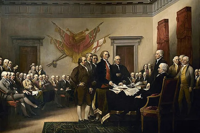 John Trumbull's famous painting is often identified as a depiction of the signing of the Declaration, but it actually shows the drafting committee presenting its work to the Congress. (Wikipedia)