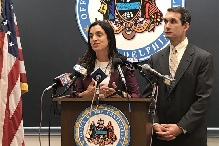Philadelphia controller Rebecca Rhynhart and Pennsylvania Auditor General Eugene DePasquale announce an audit of the Philadelphia Parking Authority's street parking enforcement operation.