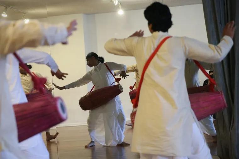 The Dancing Monks of Assam rehearse at Headlong studios in Philadelphia.