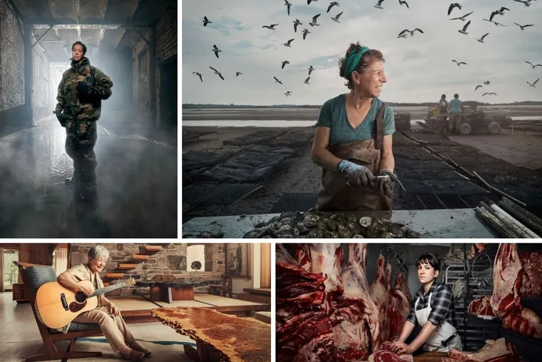 """(clockwise from top left) Tiquicia Spence, Lisa Calvo, Heather Marold Thomason, and Mira Nakashima are four of the women featured in Chris Crisman's photography and essay book """"Women's Work,"""" which explores women who have careers in male-dominated fields."""