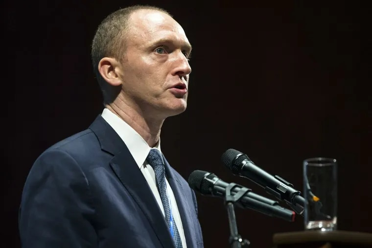 """In the category of """"you can't make this up"""", Carter Page, pictured, texted Michael Smerconish while Smerconish was watching CNN's breaking coverage about him."""