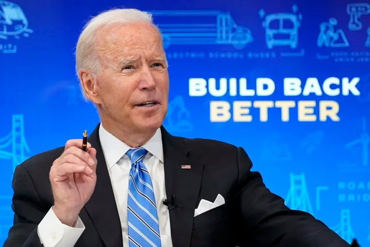 President Joe Biden speaks during a virtual meeting Wednesday, discussing the bipartisan Infrastructure Investment and Jobs Act.