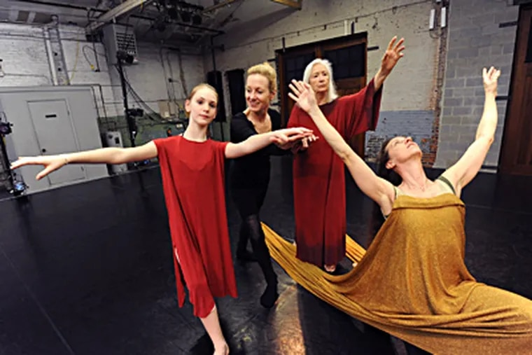 At the Performance Garage, Jeanne Ruddy (second from left) works with (from left) Sophia Davis, Birgitta Herrmann, and Christine Taylor. Among Ruddy's plans are outside choreographic projects, teaching, writing, and a long trip to China with her husband. APRIL SAUL / Staff Photographer