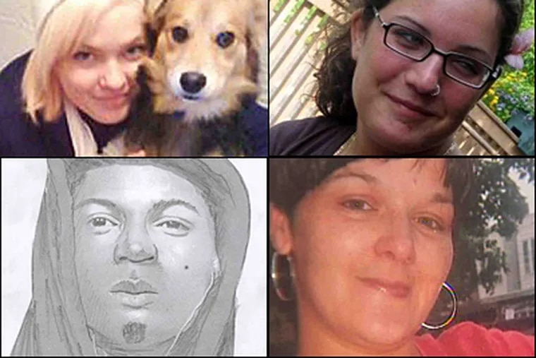 Clockwise from top left: strangulation victims Allison Edwards, Elaine Goldberg and Nicole Piacentini and a police sketch of a possible suspect. Police have another case; a woman reported being sexually assaulted in Kensington this morning.
