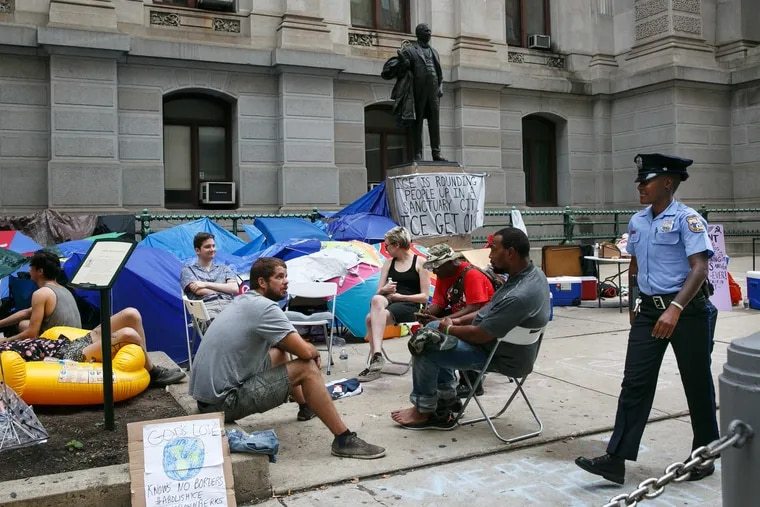 Occupy ICE moved their camp from 8th and Cherry to Philadelphia City Hall on Friday, July 6, 2018. They are calling for the closure of federal detention center in Berks County.