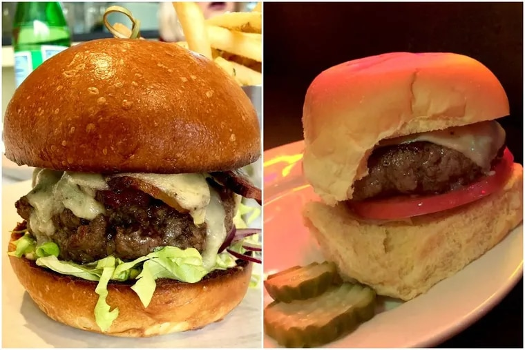 The Black Angus Smoked Bacon Burger at Lacroix, right, and the cheeseburger at Fountain Porter.