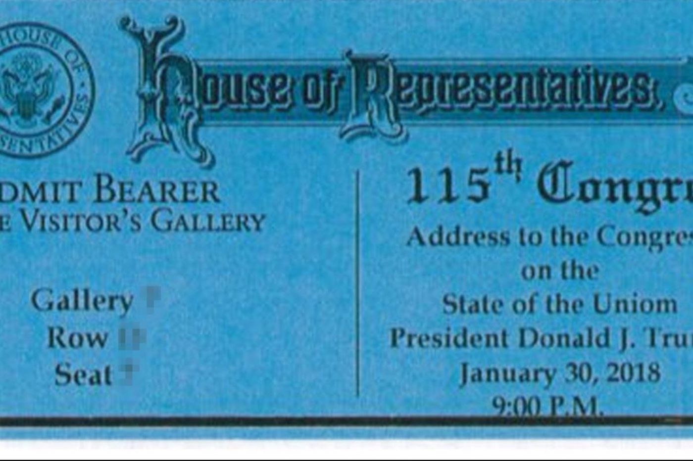 'State of the Uniom': Misspelled tickets to President Trump's first address require a reprint