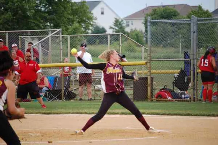 Nicole Hagerty has a career pitching record of 43-15 with 291 strikeouts for Gloucester Catholic. She earned a scholarship to Hofstra University, where she is ticketed to play first base.
