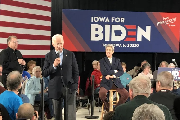 "Former Vice President Joe Biden campaigns in Elkader, Iowa alongside former Secretary of State John Kerry on Dec. 6, 2019. The event was part of Biden's ""No Malarkey"" bus tour."