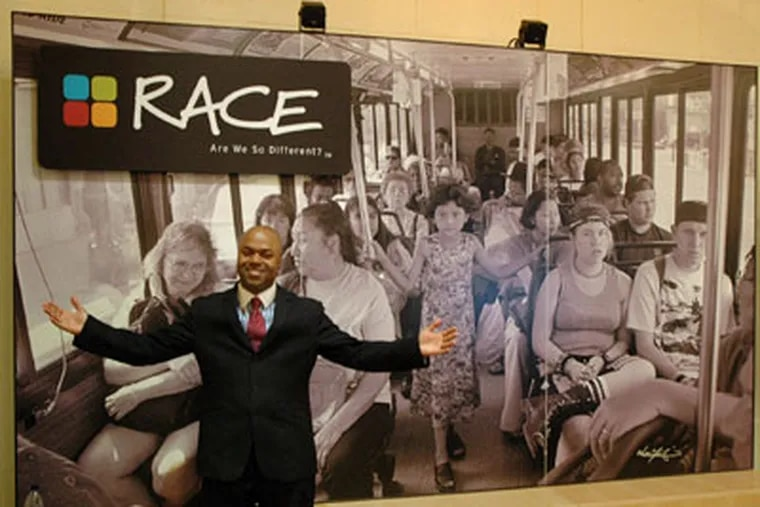 Frderic Bertley, The Franklin's vice president, Center for Innovation in Science Learning, previews the new exhibit on race. (James Heaney / Staff Photographer)