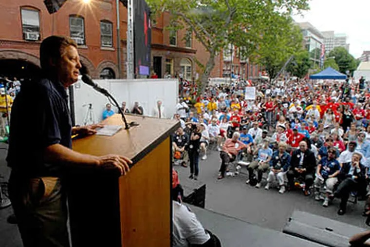 Charles Wowkanech, president of the New Jersey AFL-CIO, addresses the crowd. Democrats do not have the required two-thirds majority in each house to override Gov. Christie's veto. (April Saul / Staff)