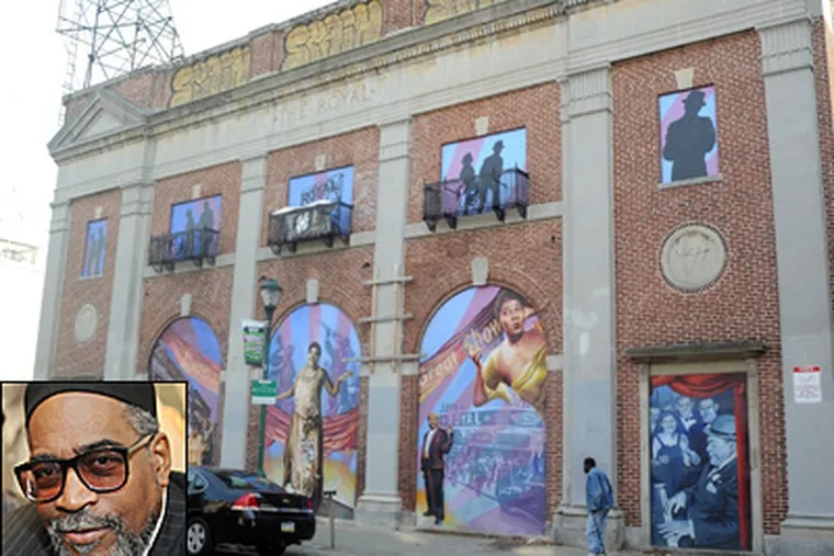 Music mogul Kenny Gamble (inset) and his Universal Companies bought the long-vacant Royal Theater on South Street in 2000 but 11 years later, the historic building is still empty and shuttered. (Sarah J. Glover/Staff)