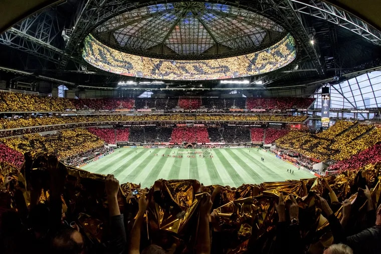Atlanta United fans showed off a stadium-wide tifo display before their home game in the MLS Cup Playoffs Eastern Conference final series against the New York Red Bulls, at a full-to-capacity Mercedes-Benz Stadium.