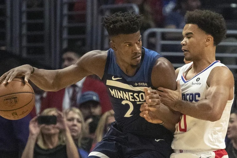 Jimmy Butler drives against the Los Angeles Clippers' Jerome Robinson earlier this season.