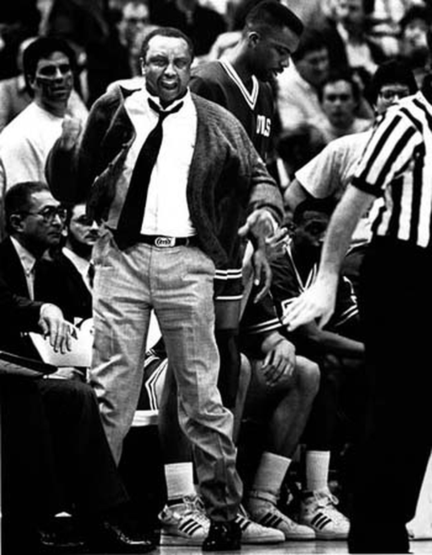 Temple Owls coach John Chaney on the sidelines of a game against North Carolina in 1988.