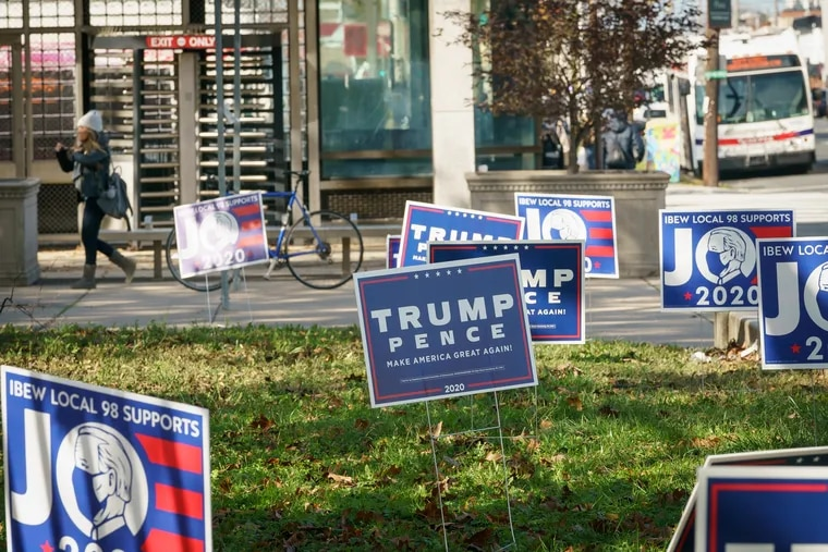 Campaign signs at Broad Street and Oregon Avenue on Election Day, Tuesday, November 03, 2020.