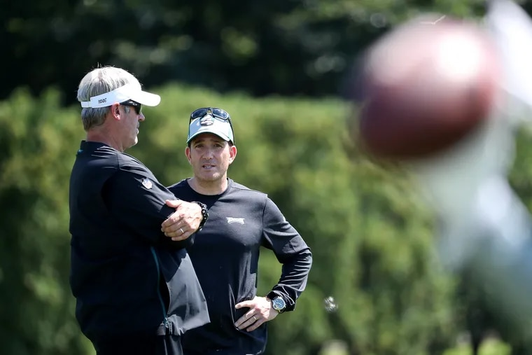 Eagles head coach Doug Pederson, left, and general manager Howie Roseman during Eagles training camp.